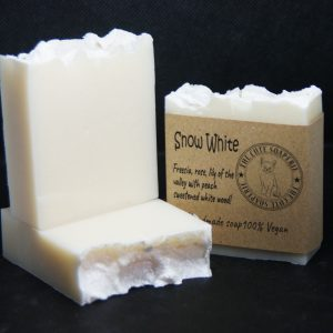Snow White Kaolin clay coconut milk oil olive oil coconut oil cold process soap cute soap wholesale uk soaperie coconut oil cocoa butter vegan eco-friendly cruelty free palm oil free jasmine fragrance scent natural soap handmade soap